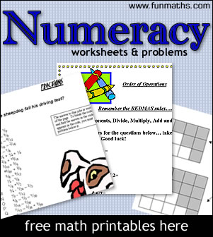 ... Numeracy & Arithmetic Worksheets - free maths worksheets. Printables