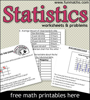 Statistics Worksheets & Problems - printable math worksheets for high ...